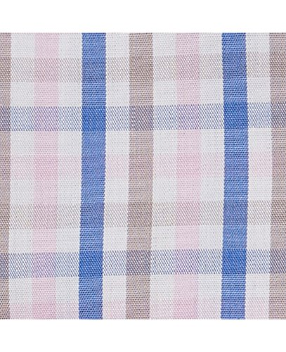 Savile Row Men's Blue Pink Brown Twill Check Smart-Casual Classic Fit Single Cuff Shirt Pink Blue Taupe White