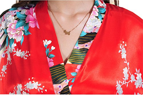 Surenow Robe de Chambre de Femme Motif Exotique Paon Fleur Kimono Satin Soyeux Peignoir Rouge