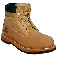 New Mens Groundwork Lace Up Steel Toe Safety Ankle Boots, Honey, Size UK 10