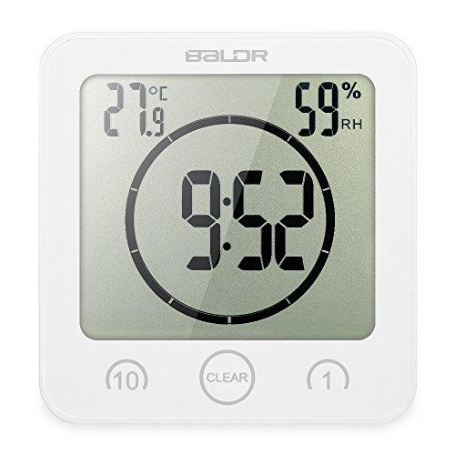 Decdeal Bad Wanduhr Dusche Uhr Wasserdicht mit LCD Display Luftfeuchtigkeit Temperatur, Countdown-Timer, Berühren Tastensteuerung Wandbehang Freistehend