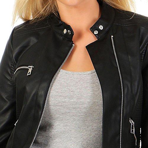 Vero Moda Damen Kunstlederjacke Calandra Biker-Stil Stehkragen black beauty