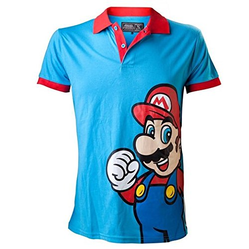 Preisvergleich Produktbild Nintendo Polo-Shirt -L- Mario, blau/rot