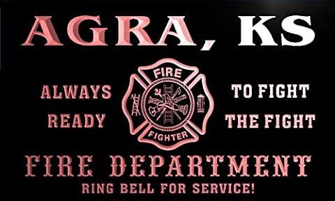 qy55998-r FIRE DEPT AGRA, KS KANSAS Firefighter Neon Sign
