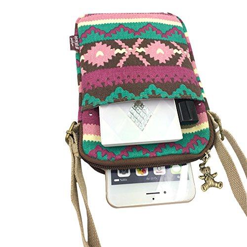 La cintura in vita Derkia Portable Utility gadget bag borsa a tracolla a tracolla in sacchetto, Bambino donna ragazza, Black Stripe Pink/Wine
