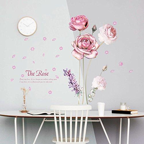 Liwendi Blütenblätter Und Lavendel Wandaufkleber 3D Rosa Rosen Abnehmbare Wohnkultur Applique Vinyl Blumen Schön