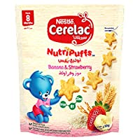 Nestle Cerelac Nutripuffs Original Bag with Strawberry and Banana, 50gm (Pack of 1)