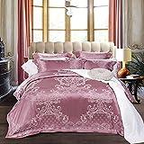 LJ-BT Europäischer Stil Jacquard 4 stück Cover-Set Quilt, Satin Tencel Baumwolle, Luxuriös Reversible Duvetabdeckungssatz, Reißverschluss-Verschluss-Hotel-qualität-2 Queen2