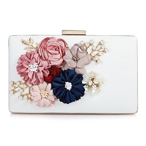 Audixius Hinreißend Damen Rechteckig Party Clutches Mit Blumen Dekoration,Weiß (Satin Weiße Blume Handtasche)