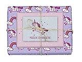 4x doppelseitiges Einhorn-Geschenkpapier + 1x Postkarte für Kinder | Made in Germany | (Einzelbögen 42x59cm, DIN A2/Regenbogen, Sterne, Punkte)
