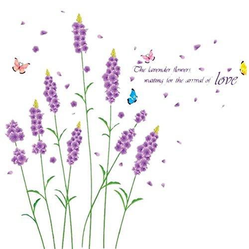 TOOGOO(R) Lila Lavendel Blumen Wand Aufkleber entfernbarer Aufkleber Romantische Home Art Decor Mural Dekoration 50 * 70cm (Lila Blumen-wand-aufkleber)