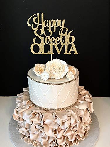 Monsety Glitzer-Tortenaufsatz Happy Sweet 16. Geburtstag Sweet Sixteen Glitzer 16. Geburtstag Sweet 16 Funny Cake Topper Hochzeit Dekoration Party Gastgeschenk für Frauen Herren