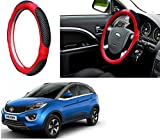 #8: Autopearl Auto Pearl - Adinox Premium Quality Ring Type Car Steering Wheel Cover (Ultimate Red Black) For -Tata Nexon