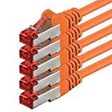 1aTTack.de 82475 - 5m - CAT6 Netzwerkkabel CAT.6 Patchkabel (PoE) Ethernetkabel SFTP PIMF 1000 Mbit/s - 5 Stück - orange