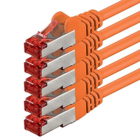 1aTTack.de - 2m - orange - 5 Stück - Cat6 Cat.6 Netzwerkkabel Patchkabel Ethernetkabel Set Sftp 1000 Mbit/s kompatibel mit cat.5 cat.5e cat.6a cat.7