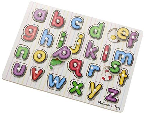 Melissa & Doug 13272 See-Inside Alphabet Wooden Peg Puzzle (26 pcs) (LC) - Multicolor