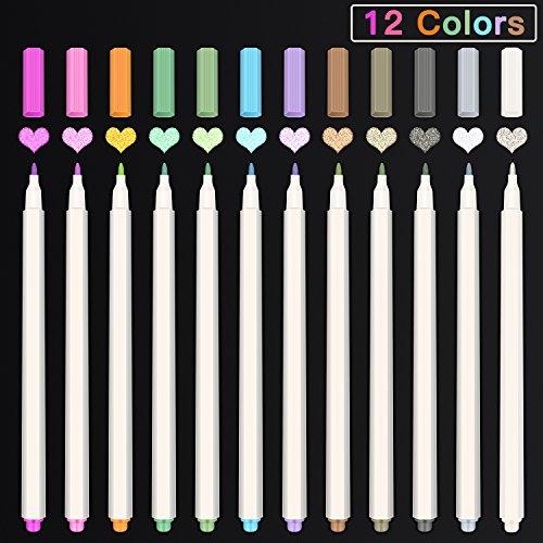 HOMVAN Pennarelli metallici 12 colori Penne per album di foto Album Scarpbook adulti Libri da colorare Rock Pittura ceramica