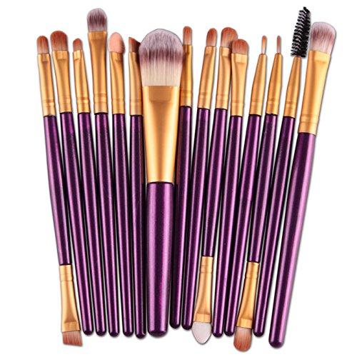 Amuster 15 pcs/Ensembles Ombre à paupières Fondation Sourcils Brosse à Lèvres Pinceau de Maquillage Outil (Violet)