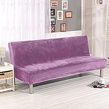 LINGJUN Moderno Funda Elástica de Sofá sin Brazos Cuebierta Antipolvo Antimanchas Sofá Cama Protección Muebles de Color Puro (Púrpura)