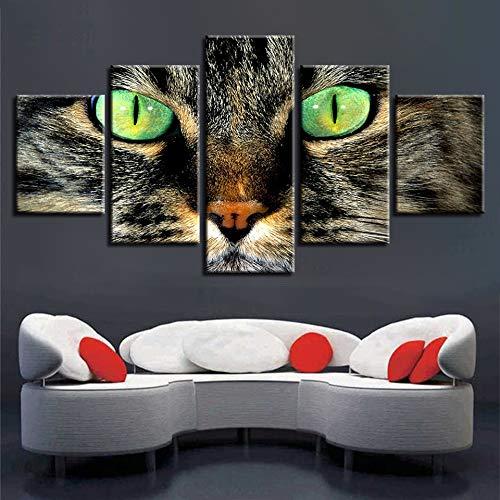 lsweia Holzrahmen/Tier Kunstdrucke Modernes Dekor 5 Stücke Grüne Augen Katzen Bild Poster Modulare Leinwand Gemälde Home Wohnzimmer Wand Kunstwerke