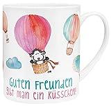 Die Geschenkewelt 45396 XL-Tasse mit Sheepworld-Motiv Guten Freunden Gibt Man Ein Küsschen, Porzellan, in Geschenk-Verpackung, 60 cl
