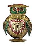 #9: Rajcrafts Wrought Iron Birds Figurines Showpiece /Indian Traditional Sculpture Standing / Decorative Sratue / Showpiece/Gift Item/Vastu/Black Masic / Scupltures / Figurines Items For Living Room / Office / Drawing Room / Bed Room / Hall Home Decor and House Warming Gifts Metal Owl Candle Stand (10 cm x 10 cm x 21 cm, Gold)