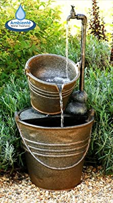 76cm Tap and Bucket Water Feature with Lights by Ambienté by Primrose