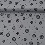 MAGAM-Stoffe ''Jana - Pusteblume'' Jersey-Stoff | 5 Farben | Interlock aus 100% Organic Cotton | Meterware ab 50cm | QX-10-5 (05. Dunkelgrau)