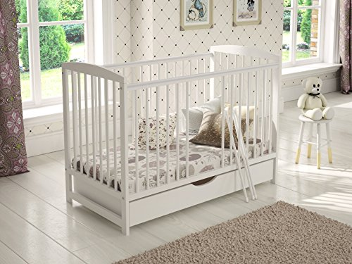 White Wooden Baby Cot with Drawer 120x60cm + 4″ Foam Mattress + Safety Wooden Barrier + Teething Rails