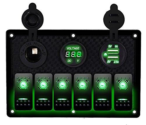 DCFlat 5 Pin 4 Gang/6-Gang Auto Marine Boat Circuit RV LED Rocker Schalter Panel vorzubeugen Voltmeter mit Sicherung Double USB fÜr Wohnmobil-Auto/Boot rot/grün Light (6 Gang Kunststoff panel-green) (4 Led-schalter-panel Gang)