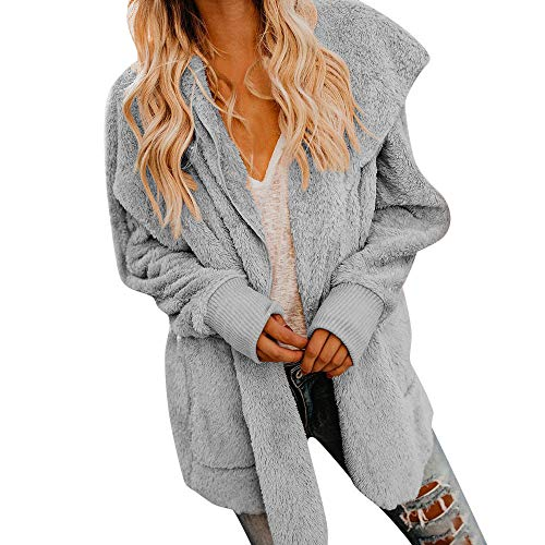 (Frauen Mit Kapuze Cardigan Pocket Langarm Open Front Coat Oberbekleidung Mantel Jacke Oberteile Outwear Herbst Winter Mode Damen Strickjacke Tasche PlüSch Solid Casual Luxus Warm(Grau,S))