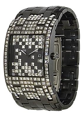 Moog Paris Jewel Rain Reloj para Mujer con Esfera Negra, Correa Negra de Acero Inoxidable y Cristales Swarovski - M45044-004 de Hexagone