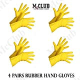 #3: McClub House Hold Cleaning Rubber Hand Gloves, Kitchen,Washing Toilet Cleaning,Garden (4 Pair)