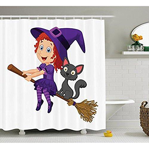 (yeuss Hexe Vorhang für die Dusche von Niedliche Happy Girl mit Funny Cat, Feier Kostüm Party Voller Freude Halloween Kindheit, Stoff Badezimmer Decor Set mit Haken, multicolor 152,4x 182,9cm, 66