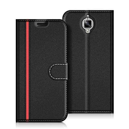 COODIO OnePlus 3T Hülle Leder Lederhülle Ledertasche Wallet Handyhülle Tasche Schutzhülle mit Magnetverschluss/Kartenfächer für OnePlus 3T und OnePlus 3, Schwarz/Rot