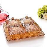 AdorabFruit Assiette en Verre à Fruits Plaque en Verre avec Compartiment à Couvercle et Grille à Quatre plaques pour Assiettes de Fruits Cadeau de Style européen,Or Jaune