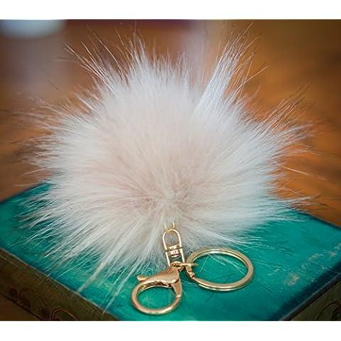 3per 2. 12cm Grande e morbida, in finta pelliccia Raccoon Stile POM POM grande designer oro chiusura portachiavi ciondolo, Ivory / touch of Pink