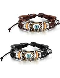 "JewelryWe Leather Vintage Turkish Blue Evil Eye Bracelet ""Luck Protection"" Men Women Braided Wrist Cuff, Adjustable 8.1-10.8inches"