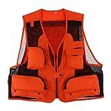 Dolity Uomo Multi-Tasche Gilet Giacca da Pesca Caccia Fotografia Maglia - Arancione, XL