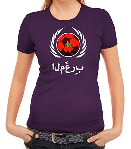ShirtStreet Marocco Wappen Soccer Fussball WM Fanfest Gruppen Fan Wappen Damen T-Shirt Fußball Marokko Lila