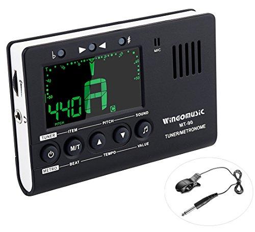 WINGO Metrónomo digital, generador de tonos y sintonizador - Dispositivo 3 en 1 (Negro) - Cromático, Guitarra, Bajo, Ukelele, violín-Incluye batería.