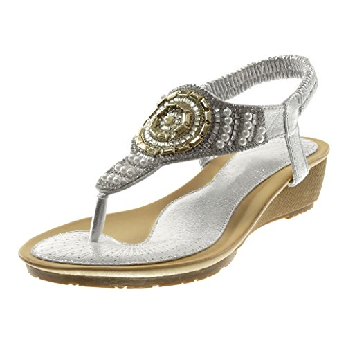 Angkorly Chaussures Sandales Mode Tongs Slip-on Femmes Strass Strass Perle Coin Talon 4.5 Cm Argent