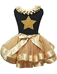 a51d97a5a8b41 Petitebelle Bling Gold Star Black Shirt Gold Stars Petal Skirt Outfit Nb-8y