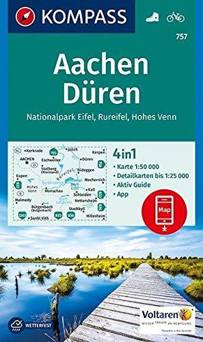 Aachen, Düren, Nationalpark Eifel, Rureifel, Hohes Venn: 4in1 Wanderkarte 1:50000 mit Aktiv Guide und Detailkarten inklusive Karte zur offline ... 1:50 000 (KOMPASS-Wanderkarten, Band 757)