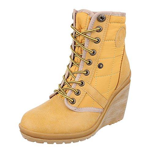 Ital-Design Keilstiefeletten Damen Schuhe Plateau Keilabsatz/ Wedge Schnürer Schnürsenkel Stiefeletten Gelb, Gr 36, 15-H52282B-