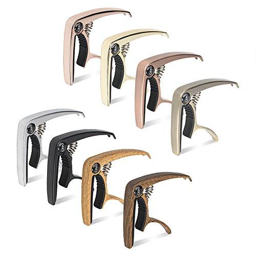 zealux® Multifunktions-Gitarre Kapodaster für Gitarren, Ukulele, Banjo, Mandoline, Bass–aus Ultra leichtem Aluminium Metall für 4& 6& 12Saiten Instrumente–PREMIUM Zubehör bronze