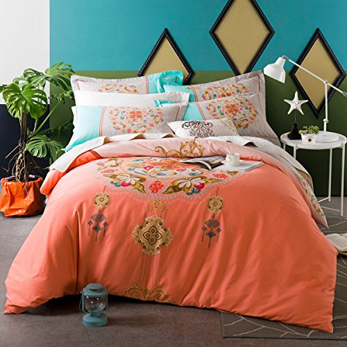abreeze Pink Rose Bettbezug mit Blumenmuster, Bettwäsche Set für Mädchen 4PCS, baumwolle, Orange Floral, Queen (Queen Bettwäsche Floral Baumwolle)