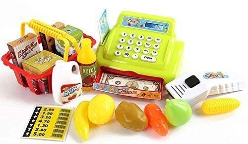 Preisvergleich Produktbild Arshiner Supermarktkasse mit scanner, elektronischem Rechner, Kreditkartenabrechnung und abschließbarer Schublade mit Geld, inklusive Einkaufskorb mit Zubehör