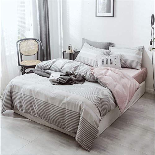 SHJIA Bettwäsche-Sets Gestreifte Bettwäsche Duver Set Bettbezug Kissenbezug Soft King Queen Size B 150x200cm - Bettbezug Natur Queen