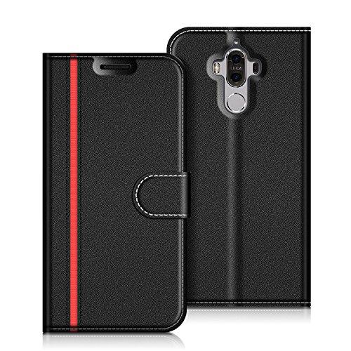 COODIO Handyhülle für Huawei Mate 9 Handy Hülle, Huawei Mate 9 Hülle Leder Handytasche für Huawei Mate 9 Klapphülle Tasche, Schwarz/Rot