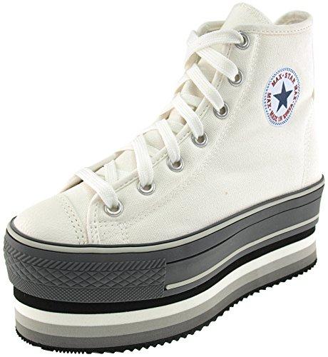 Maxstar CN7 Grande toile avec rayure Double Baskets chaussures Blanc - blanc